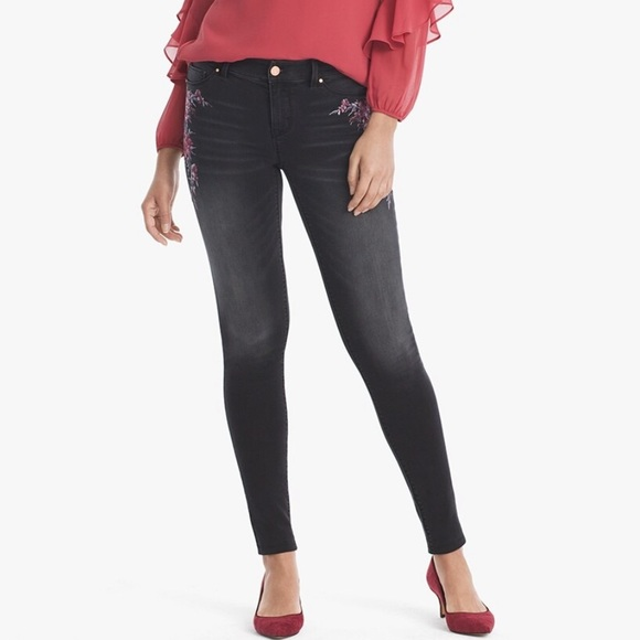 WHBM Floral Embroidered Jeggings